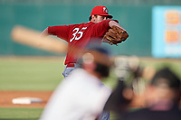 Palm Beach Cardinals relief pitcher John Kilichowski (35) delivers a pitch during a game against the Jupiter Hammerheads on August 4, 2018 at Roger Dean Chevrolet Stadium in Jupiter, Florida.  Palm Beach defeated Jupiter 7-6.  (Mike Janes/Four Seam Images)