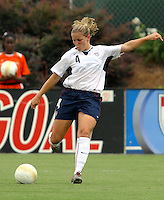 Cat Whitehill strikes the ball. The USA defeated Canada 2-0 at SAS Stadium in Cary, NC on Sunday, July 30, 2006.