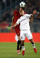 Football Soccer: UEFA Champions League AS Roma vs Qarabag FK Stadio Olimpico Rome, Italy, December 5, 2017. <br /> Roma's Federico Fazio (l) in action with Qarabag's Dino Ndlovu (r) during the Uefa Champions League football soccer match between AS Roma and Qarabag FK at at Rome's Olympic stadium, December 05, 2017.<br /> UPDATE IMAGES PRESS/Isabella Bonotto