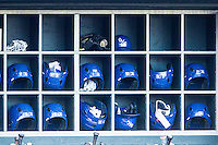 Oklahoma City Dodgers batting helmets sit in the dugout during a game between the Oklahoma City Dodgers and the Omaha Storm Chasers at Chickasaw Bricktown Ballpark on June 16, 2016 in Oklahoma City, Oklahoma. Oklahoma City defeated Omaha 5-4  (William Purnell/Four Seam Images)