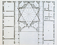 Floor plan by Borromini of Palazzo della Sapienza. Rome, Italy.