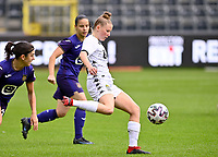 Stephanie Pirotte (20) of Sporting Charleroi pictured during a female soccer game between RSC Anderlecht Dames and Sporting Charleroi  on the second matchday of the 2021 - 2022 season of Belgian Womens Super League , saturday 28 th of August 2021  in Brussels , Belgium . PHOTO SPORTPIX   DAVID CATRY