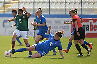 20190227 - LARNACA , CYPRUS : Mexican midfielder Karla Nieto and Italian forward Cristiana Girelli (sliding) and Italian midfielder Aurora Galli pictured during a women's soccer game between Mexico and Italy , on Wednesday 27 February 2019 at the Antonis Papadopoulos Stadium in Larnaca , Cyprus . This is the first game in group B for both teams during the Cyprus Womens Cup 2019 , a prestigious women soccer tournament as a preparation on the FIFA Women's World Cup 2019 in France and the Uefa Women's Euro 2021 qualification duels. PHOTO SPORTPIX.BE | STIJN AUDOOREN