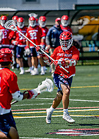 1 May 2021: Stony Brook University Seawolves Defender Michael Sabella, a Sophomore from Mt. Sinai, NY, in action against the University of Vermont Catamounts at Virtue Field in Burlington, Vermont. The Cats edged out the Seawolves 14-13 with less than one second to play in their America East Men's Lacrosse matchup. Mandatory Credit: Ed Wolfstein Photo *** RAW (NEF) Image File Available ***