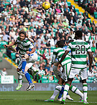 Celtic v St Johnstone...29.08.15  SPFL   Celtic Park<br /> Murray Davidson clashes heads with Emilio Izaguirre<br /> Picture by Graeme Hart.<br /> Copyright Perthshire Picture Agency<br /> Tel: 01738 623350  Mobile: 07990 594431