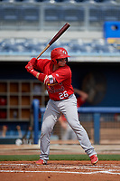 Palm Beach Cardinals Alexis Wilson (26) during a Florida State League game against the Charlotte Stone Crabs on April 14, 2019 at Charlotte Sports Park in Port Charlotte, Florida.  Palm Beach defeated Charlotte 5-3.  (Mike Janes/Four Seam Images)