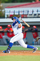 Chase Vallot (8) of the Burlington Royals hits a solo home run in the bottom of the first inning against the Greeneville Astros at Burlington Athletic Park on June 30, 2014 in Burlington, North Carolina.  The Royals defeated the Astros 9-8. (Brian Westerholt/Four Seam Images)