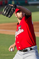 Frisco Roughriders pitcher Nick Martinez (31) warms up before the Texas League baseball game against the San Antonio Missions on August 22, 2013 at the Nelson Wolff Stadium in San Antonio, Texas. Frisco defeated San Antonio 2-1. (Andrew Woolley/Four Seam Images)