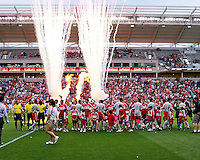 The Chicago Fire players greet the Toronto FC players before their match.  Chicago Fire defeated Toronto FC by the score of 2-1 at Toyota Park stadium, in Bridgeview, Illinois on Saturday, July 12, 2008.