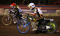 Heat 14: Simon Stead (white) and Mikkel Bech (red) - Lakeside Hammers vs Leicester Lions, Elite League Speedway at the Arena Essex Raceway, Pufleet - 04/04/14 - MANDATORY CREDIT: Rob Newell/TGSPHOTO - Self billing applies where appropriate - 0845 094 6026 - contact@tgsphoto.co.uk - NO UNPAID USE