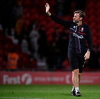 Lincoln City's assistant manager Nicky Cowley waves to the fans at the end of the game<br /> <br /> Photographer Chris Vaughan/CameraSport<br /> <br /> EFL Leasing.com Trophy - Northern Section - Group H - Doncaster Rovers v Lincoln City - Tuesday 3rd September 2019 - Keepmoat Stadium - Doncaster<br />  <br /> World Copyright © 2018 CameraSport. All rights reserved. 43 Linden Ave. Countesthorpe. Leicester. England. LE8 5PG - Tel: +44 (0) 116 277 4147 - admin@camerasport.com - www.camerasport.com