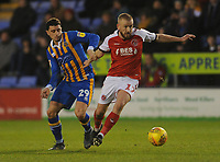 Fleetwood Town's Paddy Madden under pressure from Shrewsbury Town's Oliver Norburn<br /> <br /> Photographer Kevin Barnes/CameraSport<br /> <br /> The EFL Sky Bet League One - Shrewsbury Town v Fleetwood Town - Tuesday 1st January 2019 - New Meadow - Shrewsbury<br /> <br /> World Copyright © 2019 CameraSport. All rights reserved. 43 Linden Ave. Countesthorpe. Leicester. England. LE8 5PG - Tel: +44 (0) 116 277 4147 - admin@camerasport.com - www.camerasport.com