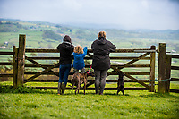 Monday  01 May 2017 Pictured: A family looks out at a view  of the Towy valley from Paxton's Tower, Carmarthenshire