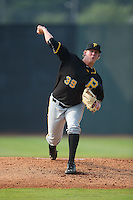 Bristol Pirates starting pitcher Trey Supak (39) in action against the Johnson City Cardinals at Howard Johnson Field at Cardinal Park on July 6, 2015 in Johnson City, Tennessee.  The Pirates defeated the Cardinals 2-0 in game one of a double-header. (Brian Westerholt/Four Seam Images)