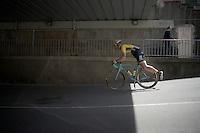 Maarten Tjallingii (NLD/LottoNL-Jumbo) having fun on the way to the start<br /> <br /> 2015 Giro<br /> st4: Chiavari - La Spezia (150km)