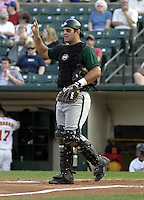 September 5, 2004:  Catcher Ryan Garko of the Buffalo Bisons, International League (AAA) affiliate of the Cleveland Indians, during a game at Frontier Field in Rochester, NY.  Photo by:  Mike Janes/Four Seam Images
