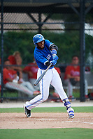 GCL Blue Jays designated hitter Jose Abel Hernandez (37) swings at a pitch during a game against the GCL Phillies West on August 7, 2018 at Bobby Mattick Complex in Dunedin, Florida.  GCL Blue Jays defeated GCL Phillies West 11-5.  (Mike Janes/Four Seam Images)