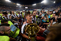 Football Soccer - Juventus - Lazio - Italian Cup Final - Olympic Stadium, Rome, Italy, May17,2017.<br /> Juventus' Paulo Dybala (l) and Gonzalo Higuain (r) celebrate with the trophy after winning the Italian Cup Final match at Rome's Olympic stadium, on May 17,2017.<br /> UPDATE IMAGES PRESS