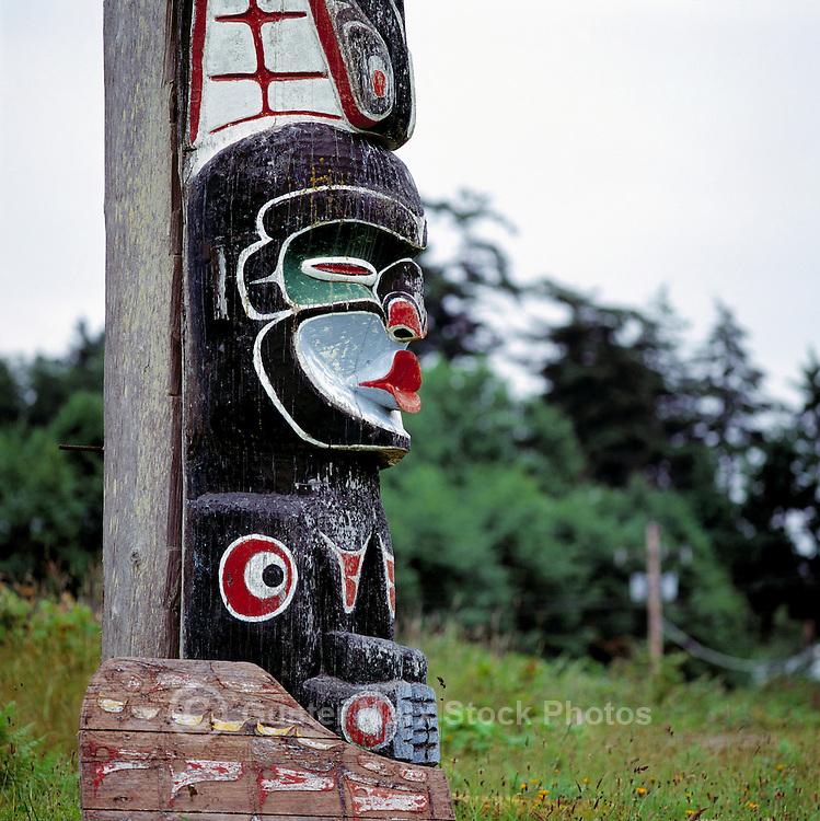 Alert Bay, Cormorant Island, BC, British Columbia, Canada - Kwakwaka'wakw (Kwakiutl) Memorial Totem Pole on Namgis Burial Grounds