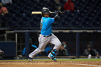 Miami Marlins Jorge Alfaro (38) bats during a Major League Spring Training game against the Washington Nationals on March 20, 2021 at FITTEAM Ballpark of the Palm Beaches in Palm Beach, Florida.  (Mike Janes/Four Seam Images)