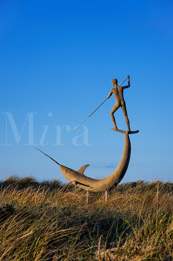 Harpooner sculpture, Menemsha, Chilmark, Martha's Vineyard, Massachusetts, USA