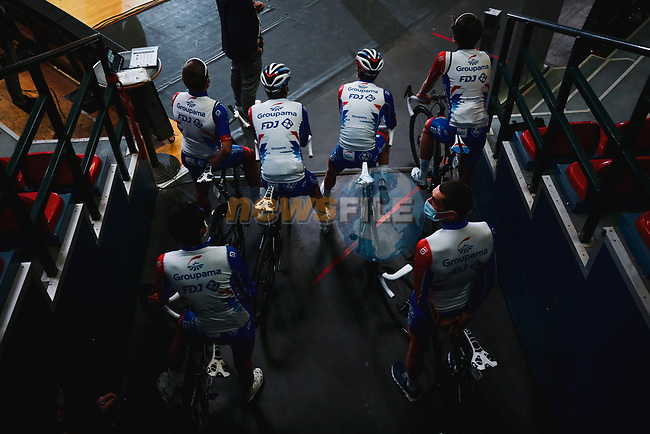 Groupama-FDJ at the team presentation before the 2021 Flèche-Wallonne, running 193.6km from Charleroi to Huy, Belgium. 21st April 2021.  <br /> Picture: A.S.O./Aurélien Vialatte   Cyclefile<br /> <br /> All photos usage must carry mandatory copyright credit (© Cyclefile   A.S.O./Aurélien Vialatte)
