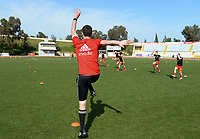 20180307 - LARNACA , CYPRUS :  Belgian Gil Benedetti pictured during the warming up of a women's soccer game between  South Africa and the Belgian Red Flames  , on Wednesday 7 March 2018 at the GSZ Stadium in Larnaca , Cyprus . This is the final game in a decision for 5th or 6th place for Belgium during the Cyprus Womens Cup , a prestigious women soccer tournament as a preparation on the World Cup 2019 qualification duels. PHOTO SPORTPIX.BE | DAVID CATRY