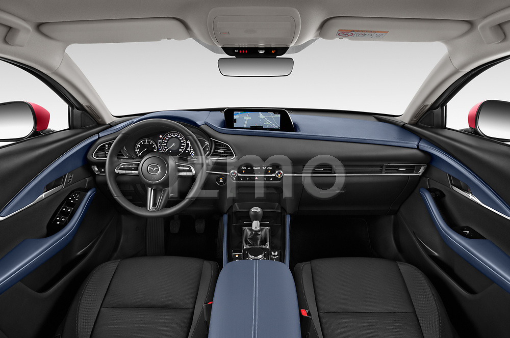Stock photo of straight dashboard view of a 2020 Mazda CX 30 Skydrive-Lux 5 Door SUV