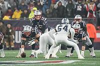FOXBOROUGH, MA - NOVEMBER 24: New England Patriots Quarterback Tom Brady #12 prepares for a snap during a game between Dallas Cowboys and New England Patriots at Gillettes on November 24, 2019 in Foxborough, Massachusetts.