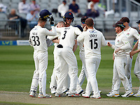 29th May 2021; Emirates Old Trafford, Manchester, Lancashire, England; County Championship Cricket, Lancashire versus Yorkshire, Day 3; Matt Parkinson celebrates with his team mates after giving Lancashire the breakthrough they need with Adam Lyth of Yorkshire caught behind by Luke Wells on 72-1