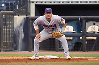 Fort Myers Mighty Mussels first baseman Aaron Sabato (27) during a game against the Tampa Yankees on May 19, 2021 at George M. Steinbrenner Field in Tampa, Florida. (Mike Janes/Four Seam Images)