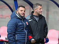 Head coach Tiziano Rutilo of Woluwe and assistant coach Jahir Shehi of Woluwe pictured before a female soccer game between Standard Femina de Liege and White Star Woluwe on the fifth matchday of the 2021 - 2022 season of Belgian Scooore Womens Super League , saturday 2 nd of October 2021  in Angleur , Belgium . PHOTO SPORTPIX   SEVIL OKTEM