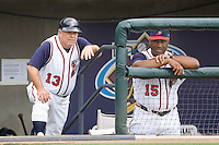 Bombard, Marc and Jackson, Ron 0066.jpg. Memphis Redbirds at Round Rock Express in Pacific Coast League Baseball. Dell Diamond on April 26th 2009 in Round Rock, Texas. Photo by Andrew Woolley.