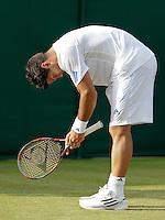 22-06-11, Tennis, England, Wimbledon, Fernando Verdasco kan het niet geloven, hij wordt verslagen door Robin Haase