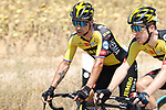 Primoz Roglic (SLO) and Steven Kruisjwijk (NED) Jumbo-Visma chat during Stage 5 of La Vuelta d'Espana 2021, running 184.4km from Tarancón to Albacete, Spain. 18th August 2021.    <br /> Picture: Luis Angel Gomez/Photogomezsport   Cyclefile<br /> <br /> All photos usage must carry mandatory copyright credit (© Cyclefile   Luis Angel Gomez/Photogomezsport)