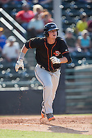 Steve Laurino (21) of the Delmarva Shorebirds starts down the first base line against the Hickory Crawdads at L.P. Frans Stadium on June 18, 2016 in Hickory, North Carolina.  The Crawdads defeated the Shorebirds 1-0 in game one of a double-header.  (Brian Westerholt/Four Seam Images)
