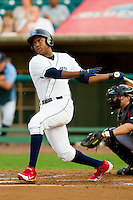Maikel Franco (18) of the Lakewood BlueClaws follows through on his swing against the Kannapolis Intimidators at FirstEnergy Park on August 8, 2012 in Lakewood, New Jersey.  The BlueClaws defeated the Intimidators 5-0.  (Brian Westerholt/Four Seam Images)