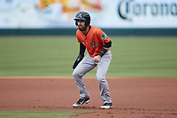 Mason McCoy (1) of the Norfolk Tides takes his lead off of first base against the Charlotte Knights at Truist Field on May 14, 2021 in Charlotte, North Carolina. (Brian Westerholt/Four Seam Images)