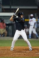 Jacob Steinberg (36) (SCF Manatee) of the Danville Otterbots at bat against the Burlington Sock Puppets at Burlington Athletic Park on June 5, 2021 in Burlington, North Carolina. (Brian Westerholt/Four Seam Images)