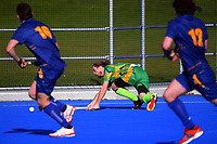 Action from the premier men's Manawatu Hockey match between Marist and Massey University in Palmerston North, New Zealand on Saturday, 24 July 2021. Photo: Dave Lintott / lintottphoto.co.nz