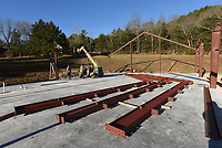 CHURCH ADDING ON<br />Daniel Detweiler (left) and Steven Detweiler moves girders into place on Wednesday Nov. 18 2020 at Rocky Branch Baptist Church east of Rogers near Beaver Lake. The church is adding an auditorium next to the original building. Go to nwaonline.com/201119Daily/ to see more photos. <br />(NWA Democrat-Gazette/Flip Putthoff)