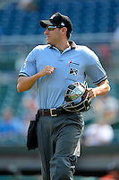 Umpire Derek Mollica during a game between the Chattanooga Lookouts and Birmingham Barons on April 17, 2013 at AT&T Field in Chattanooga, Tennessee.  Chattanooga defeated Birmingham 5-4.  (Mike Janes/Four Seam Images)