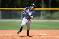 Tampa Bay Rays second baseman Riley Unroe (1) during an Instructional League game against the Pittsburgh Pirates on September 27, 2014 at Charlotte Sports Park in Port Charlotte, Florida.  (Mike Janes/Four Seam Images)
