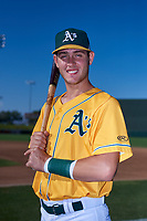 AZL Athletics Gold Cesarre Astorri (22) poses for a photo before an Arizona League game against the AZL Rangers on July 15, 2019 at Hohokam Stadium in Mesa, Arizona. The AZL Athletics Gold defeated the AZL Rangers 9-8 in 11 innings. (Zachary Lucy/Four Seam Images)