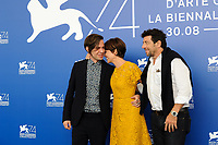Italian director Sebastiano Riso, left, attends a photo call with Italian actress Micaela Ramazzotti, center, and French singer, actor, and professional poker player Patrick Bruel,for his movie 'Una Famiglia' at the 74th Venice Film Festival, Venice Lido, September 4, 2017. <br /> UPDATE IMAGES PRESS/Marilla Sicilia<br /> <br /> *** ONLY FRANCE AND GERMANY SALES ***