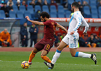 Roma's Mohamed Salah, left, is challenged by Napoli's Raul Albiol during the Italian Serie A football match between Roma and Napoli at Rome's Olympic stadium, 4 March 2017. <br /> UPDATE IMAGES PRESS/Riccardo De Luca