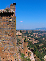 Homes on edge of hill at Civita di Bagnoregio, Ital