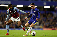 22nd September 2021; Stamford Bridge, Chelsea, London, England; EFL Cup football, Chelsea versus Aston Villa; Carney Chukwuemeka of Aston Villa held off by Ben Chilwell of Chelsea