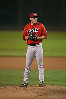 Orem Owlz relief pitcher Jake Lee (30) prepares to deliver a pitch during a Pioneer League game against the Helena Brewers at Kindrick Legion Field on August 21, 2018 in Helena, Montana. The Orem Owlz defeated the Helena Brewers by a score of 6-0. (Zachary Lucy/Four Seam Images)