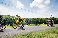 yellow jersey / GC leader Mathieu Van der Poel (NED/Alpecin-Fenix)<br /> <br /> Stage 7 from Vierzon to Le Creusot (249km)<br /> 108th Tour de France 2021 (2.UWT)<br /> <br /> ©kramon